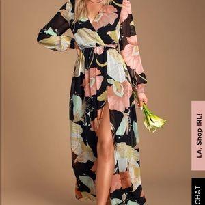 Wondrous water lily black flows print dress